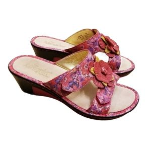 Alegria Wedge Leather Floral Sandals